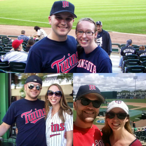 Top: in Chicago, 2011 Bottom left: outside Target Field in MPLS, 2013 Bottom right: at spring training in Florida